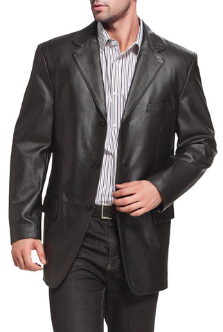 "BGSD Men's ""Liam"" Three-Button Leather Blazer"