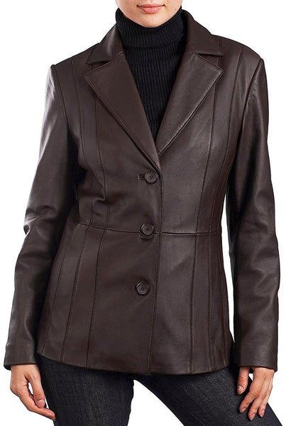 "BGSD Women's ""Crystal"" Three-Button Lambskin Leather Blazer"