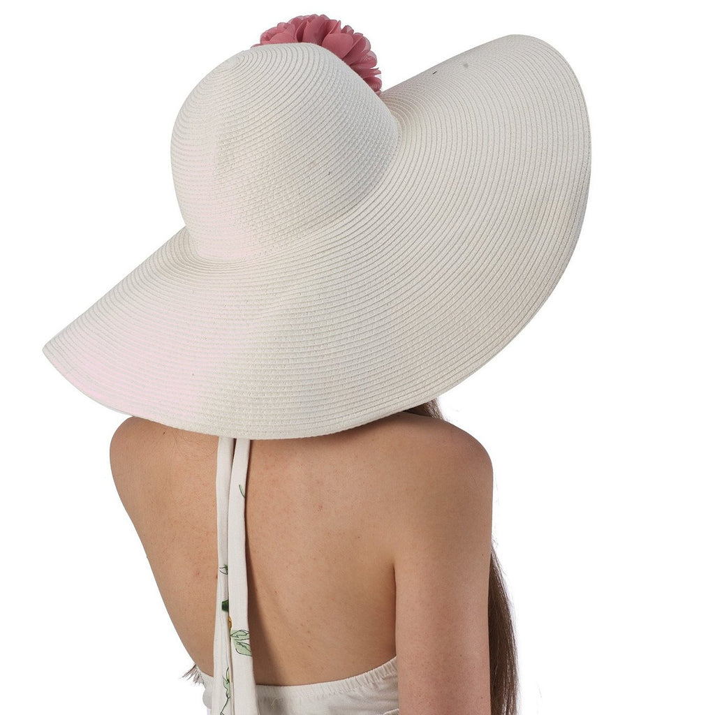 Luxury Lane Women s White Floppy Sun Hat with Pink Flower Appliques 4fb70240ee4