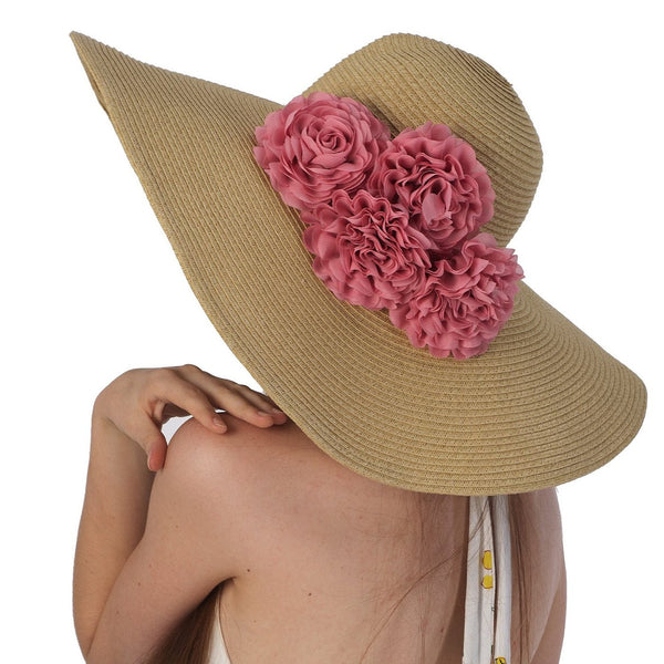 Luxury Lane Women's Beige Floppy Sun Hat with Pink Flower Appliques