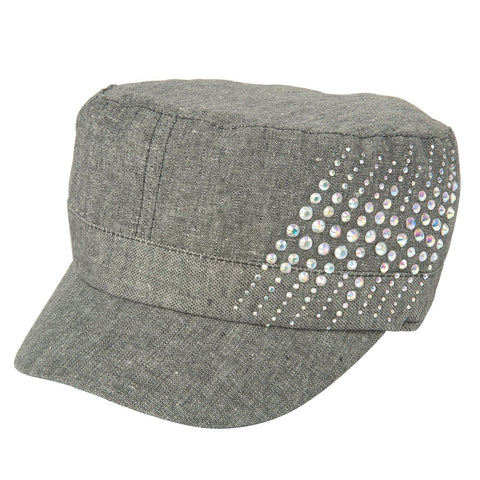 Luxury Lane Women's Black Linen Rhinestones Cadet Cap