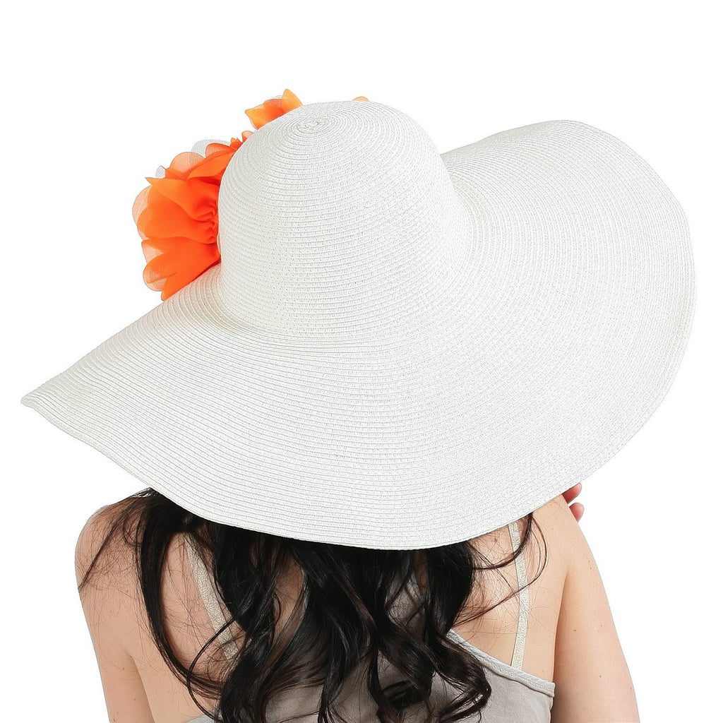 ac311f63864 Luxury Lane Women's White Floppy Sun Hat with Orange Flower Appliques