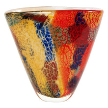 "Load image into Gallery viewer, Luxury Lane Hand Blown Multicolor Abstract Art Glass Vase 8"" tall"