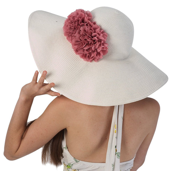 Luxury Lane Women's White Floppy Sun Hat with Pink Flower Appliques