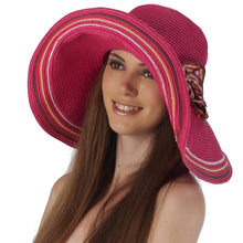 Load image into Gallery viewer, Luxury Lane Women's Rose Pink Floppy Flower Sun Hat