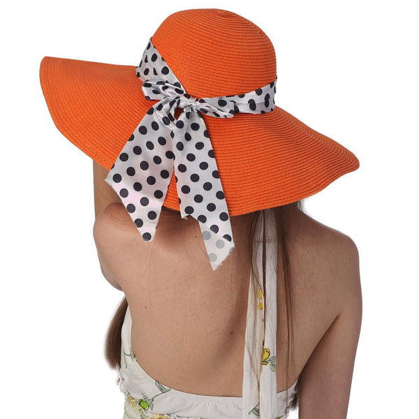 Luxury Lane Women's Orange Floppy Ribbon Sun Hat