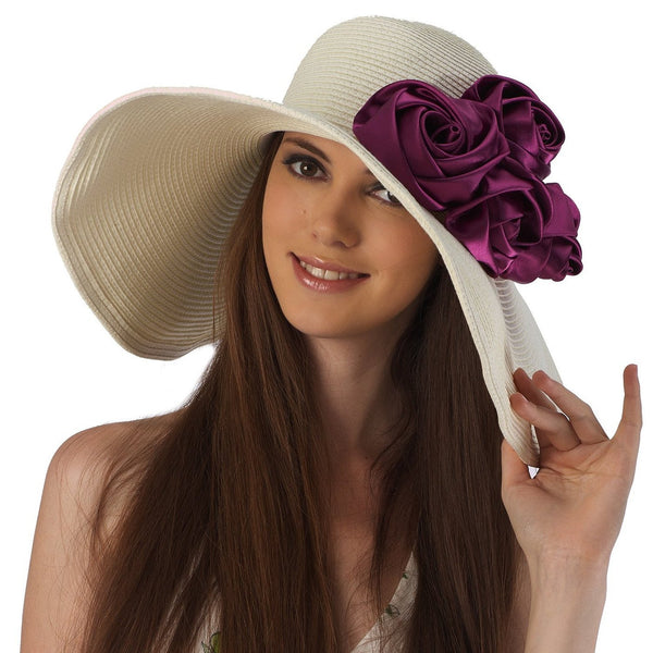 Luxury Lane Women's Beige Floppy Sun Hat with Purple Flower Appliques