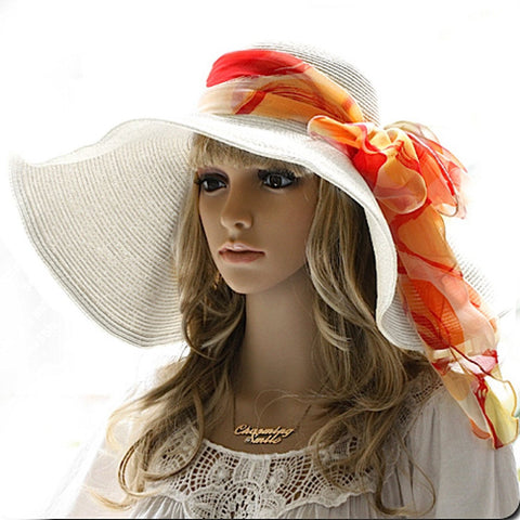 Luxury Lane Women's White Floppy Paper Straw Sun Hat with Removable Orange Scarf