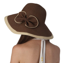 Load image into Gallery viewer, Luxury Lane Women's Brown Ribbon Sun Hat