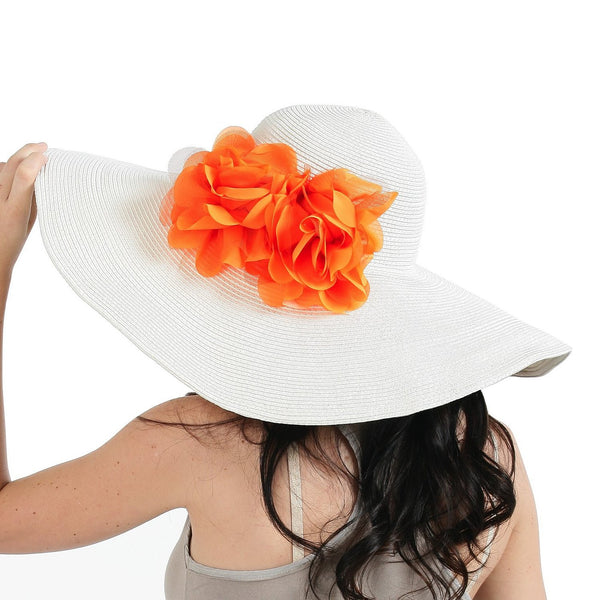 Luxury Lane Women's White Floppy Sun Hat with Orange Flower Appliques