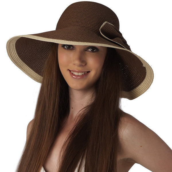 Luxury Lane Women's Brown Ribbon Sun Hat