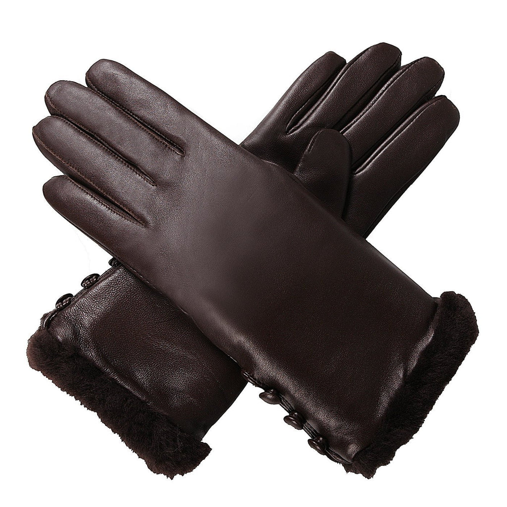 Luxury Lane Women's Shearling Fur Trim Cashmere Lined Lambskin Leather Gloves