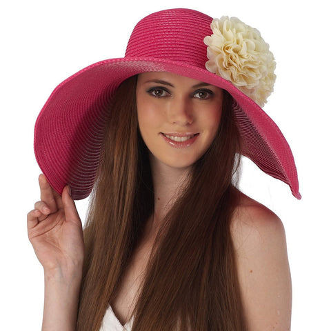 Luxury Lane Women's Rose Pink Floppy Sun Hat with White Flower Appliques