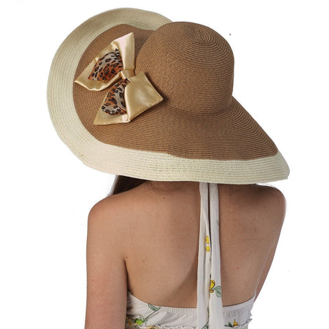 Luxury Lane Women's Coffee Floppy Sun Hat with Leopard Print Bow