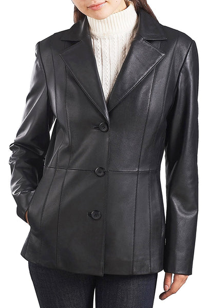 "BGSD Women's ""Crystal"" New Zealand Lambskin Leather Blazer"