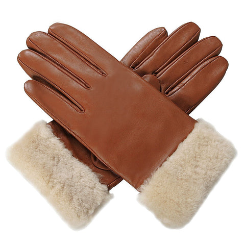 luxury lane womens shearling fur trim cashmere lined lambskin leather gloves 3