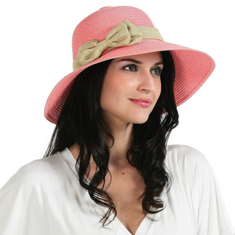 Luxury Lane Women's Small Brim Straw Sun Hat with Side Double Bow Accent