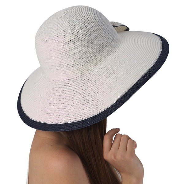 Luxury Lane Women's White Ribbon Sun Hat