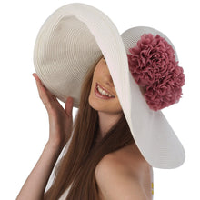 Load image into Gallery viewer, Luxury Lane Women's White Floppy Sun Hat with Pink Flower Appliques