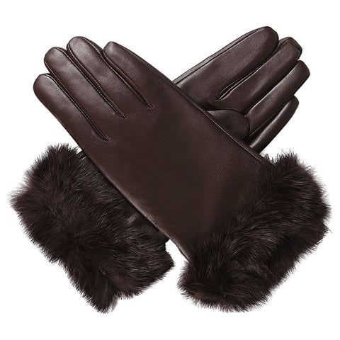 Luxury Lane Women's Rabbit Fur Cuff Cashmere Lined Lambskin Leather Gloves