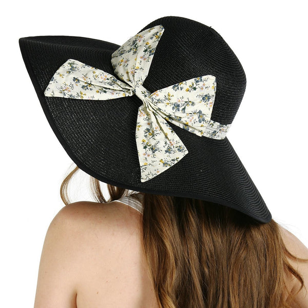 Luxury Lane Women's Black Large Bow Floppy Sun Hat