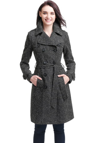 "BGSD Women's ""Norah"" Wool Blend Trench Coat - Plus"
