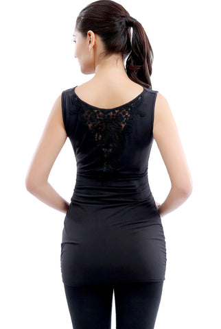 "Kimi + Kai Maternity ""Flora"" Cowl Neck Lace Back Top"