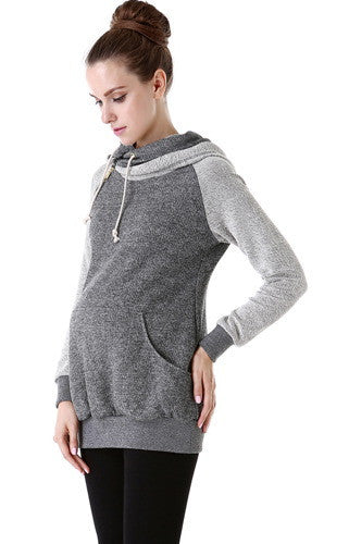 "Kimi + Kai Maternity ""Mattie"" French Terry Asymmetrical Zip Hoodie"