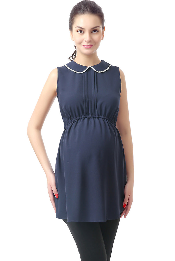 "Kimi + Kai Maternity ""Callie"" Embellished Peter Pan Collar Blouse"