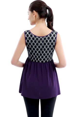 "Kimi + Kai Maternity ""Amber"" Polka Dot Lace Back Top"
