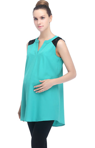 "Kimi + Kai Maternity ""Hillary"" Lace Inset V-Neck Top"