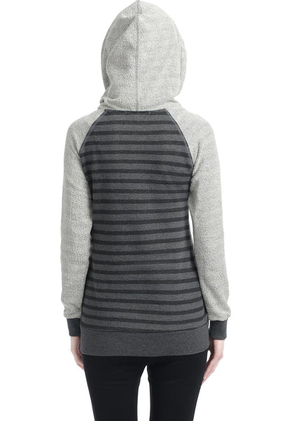 "Kimi + Kai Maternity ""Lana"" French Terry Asymmetrical Zip Hoodie"