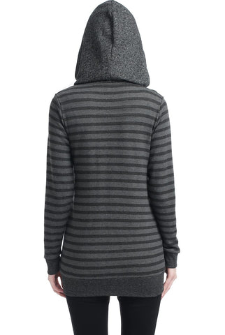 "Kimi + Kai Maternity ""Salena"" Striped Asymmetrical Zip Front Hoodie"