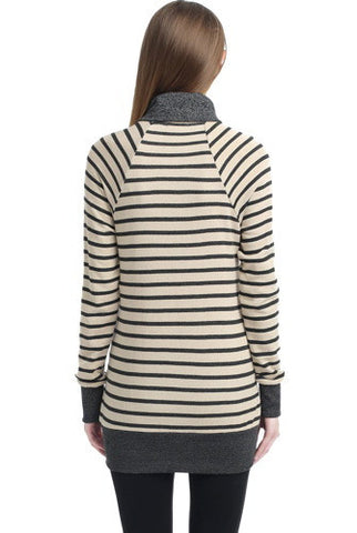"Kimi + Kai Maternity ""Mika"" Striped Envelope Neck Sweatshirt"