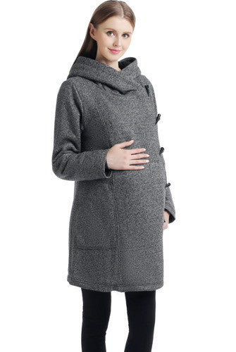 "Kimi + Kai Maternity ""Amy"" Wrap Hood Sherpa Lined Travel Coat"