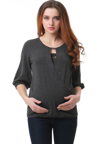 "Kimi + Kai ""Faith"" Lace Trim Maternity/Nursing Top"