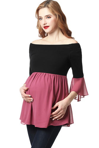 "Kimi + Kai ""Kylie"" Off the Shoulder Maternity Color Block Top"