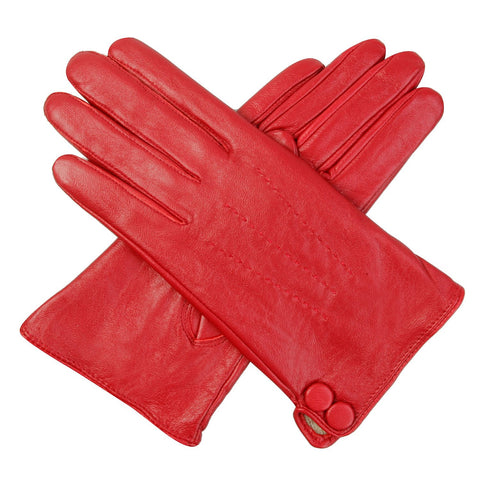 Luxury Lane Women's Cashmere Lined Lambskin Leather Gloves with Buttons