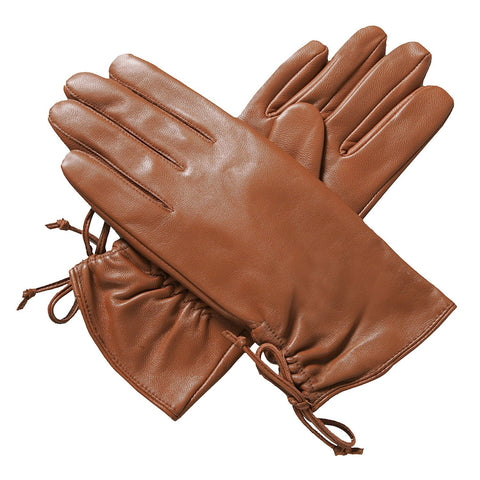 Luxury Lane Women's Lambskin Leather Ruched Tie Gloves