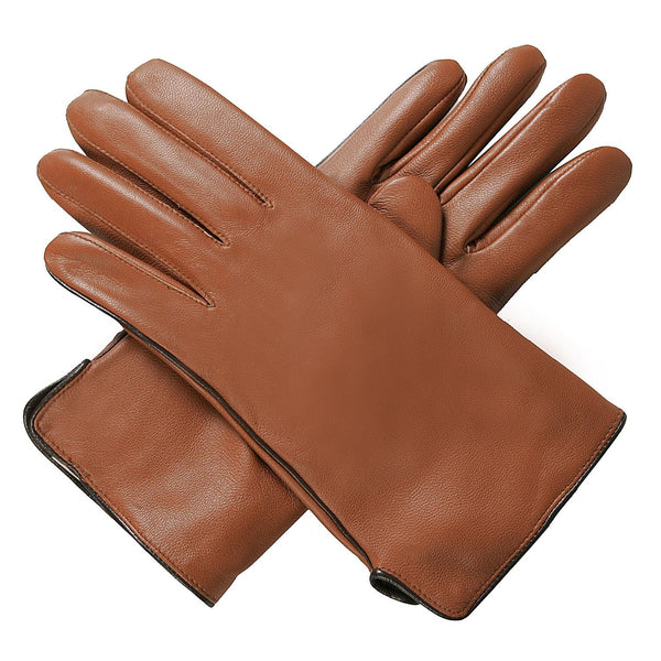 Luxury Lane Women's Contrast Piping Cashmere Lined Lambskin Leather Gloves