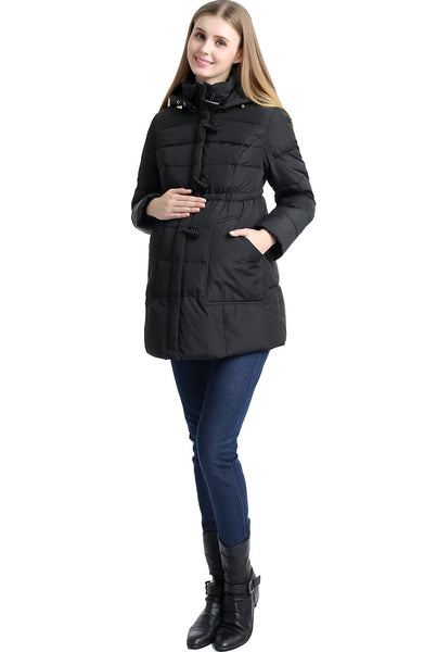 "Kimi and Kai Maternity ""Marlo"" Hooded Toggle Down Parka Coat"
