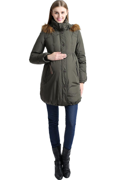 "Kimi + Kai Maternity ""Lizzy"" Hooded Cinch Waist Down Coat"