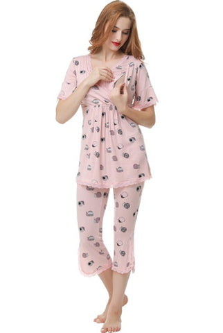 "Kimi + Kai ""Foxy"" Maternity & Nursing Pajamas Sleepwear Set"