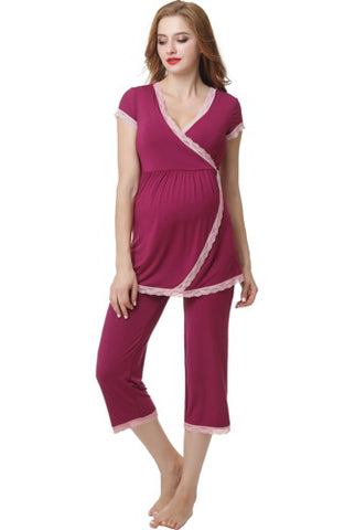 "Kimi + Kai ""Cindy"" Maternity & Nursing Pajamas Sleepwear Set"