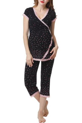 Glow & Grow Women's Ultra Soft Maternity & Nursing Pajamas Sleepwear Set