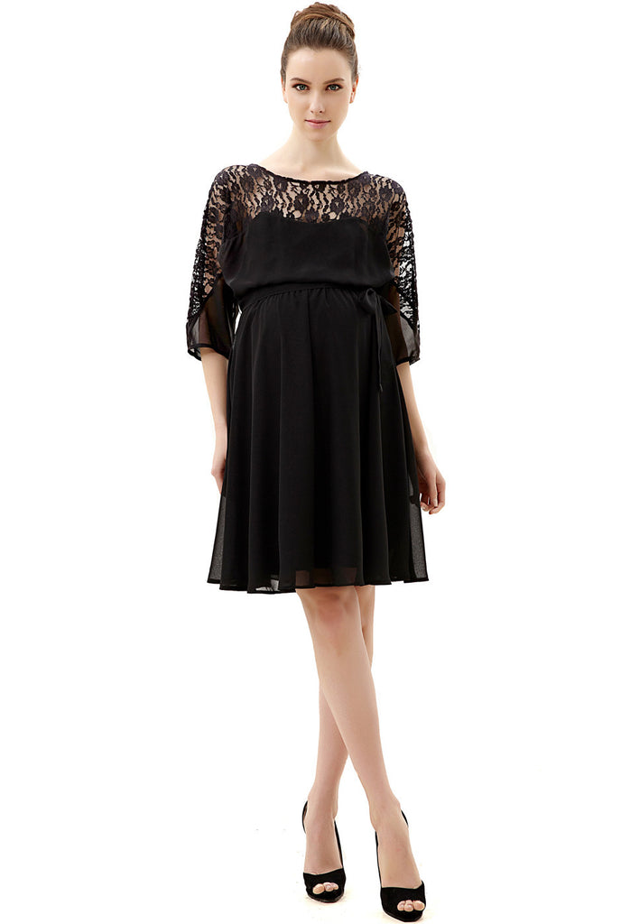 "Kimi + Kai Maternity ""Piper"" Lace Top Flowy Dress"