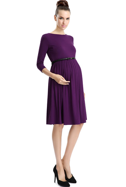 "Kimi + Kai Maternity ""Shannon"" Pleated Midi Dress"