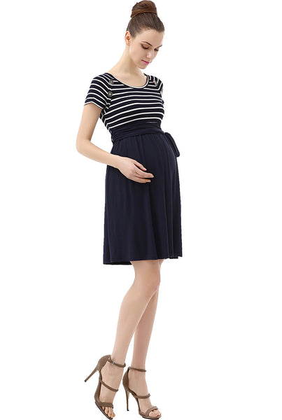 "Kimi + Kai Maternity ""Taylor"" Button Detail Nautical Style Dress"