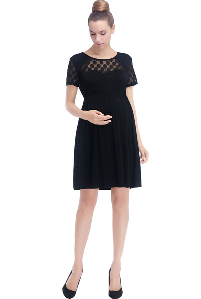"Kimi and Kai Maternity ""Claire"" Polka Dot Lace Skater Dress"