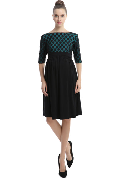 "Kimi + Kai Maternity ""Charlie"" Polka Dot Lace Top Empire Waist Dress"